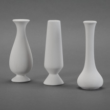 Bisque 3 Assorted Bud Vases each 2.5 x 2.5 x 6.3inch