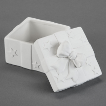 Bisque Square Gift Box with Lid & Bow