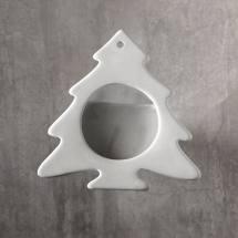 Bisque Christmas Tree Frame Ornament �4.5 x 4.5 x 0.7inch