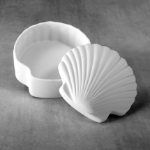 Bisque Scallop Shell Box  4.9  x 4.9 x 3inch