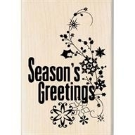 Wood Stamp-Christmas-Seasons Greetings Flourish
