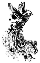 Wood Stamp-Animals & Birds-Songbird Flying