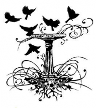 Wood Stamp-Animals & Birds-Garden Birdbath
