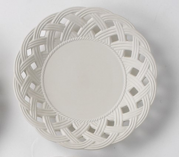 Bisque 330mm Plate with Lattice Border