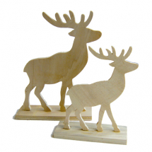 Set 2 wood reindeers 15 & 20cm