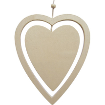 Wooden hanging double heart 15x12cm