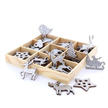 Box with 54 small wooden reindeer, stars, trees