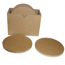 Wood MDF 6 round coasters set