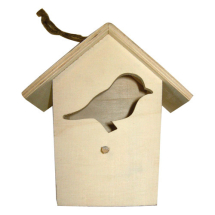 Wood birdhouse with bird shaped opening