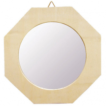 Wood mirror 90mm octogon frame