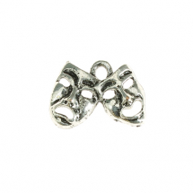 Double mask 20x10mm antique silver