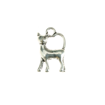 High tail cat 20x12mm antique silver