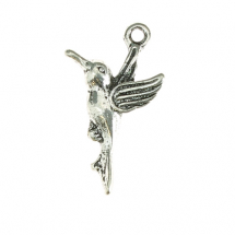 Hummingbird 20x12mm antique silver