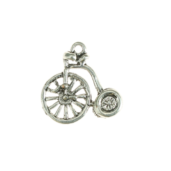 Penny farthing bike 10x6mm antique silver