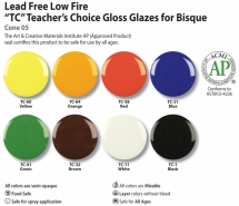 Amaco Teacher's Choice Mixable Glaze- 8 Colour Set- 8x 3.78lt