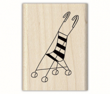 Wood Stamp-Baby-Strolling In Style